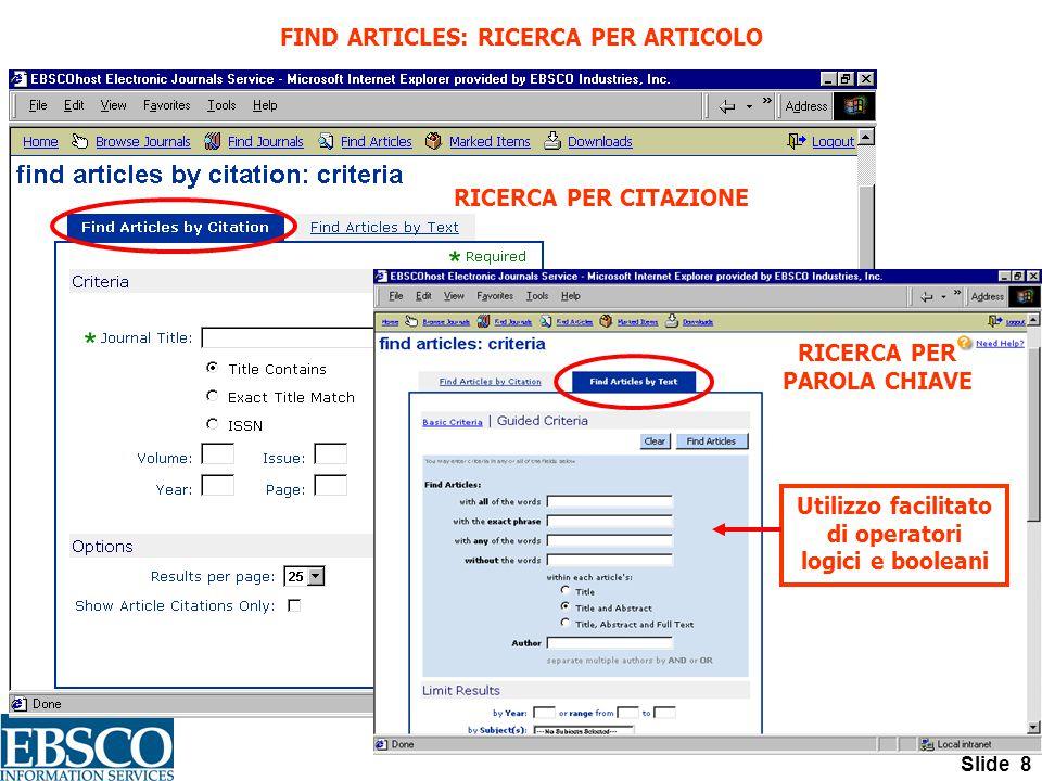 Slide 8 FIND ARTICLES: RICERCA PER ARTICOLO Utilizzo facilitato di operatori logici e booleani RICERCA PER CITAZIONE RICERCA PER PAROLA CHIAVE