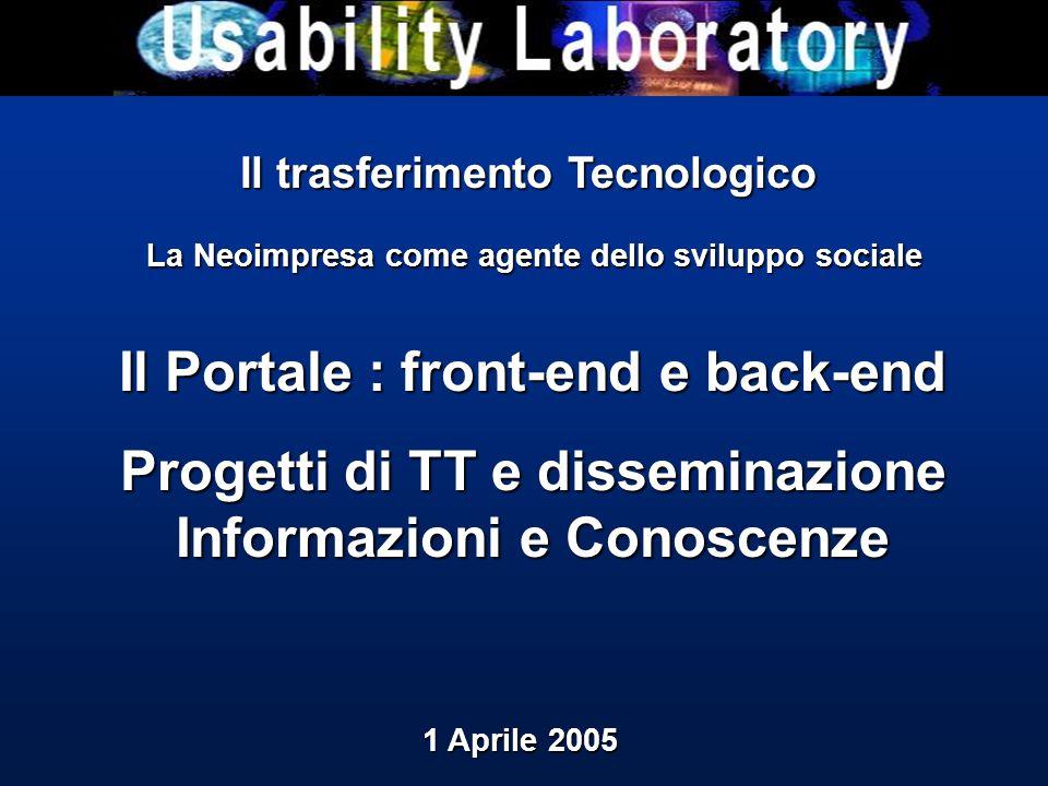 Il trasferimento Tecnologico La Neoimpresa come agente dello sviluppo sociale La Neoimpresa come agente dello sviluppo sociale Il Portale : front-end e back-end Progetti di TT e disseminazione Informazioni e Conoscenze 1 Aprile 2005