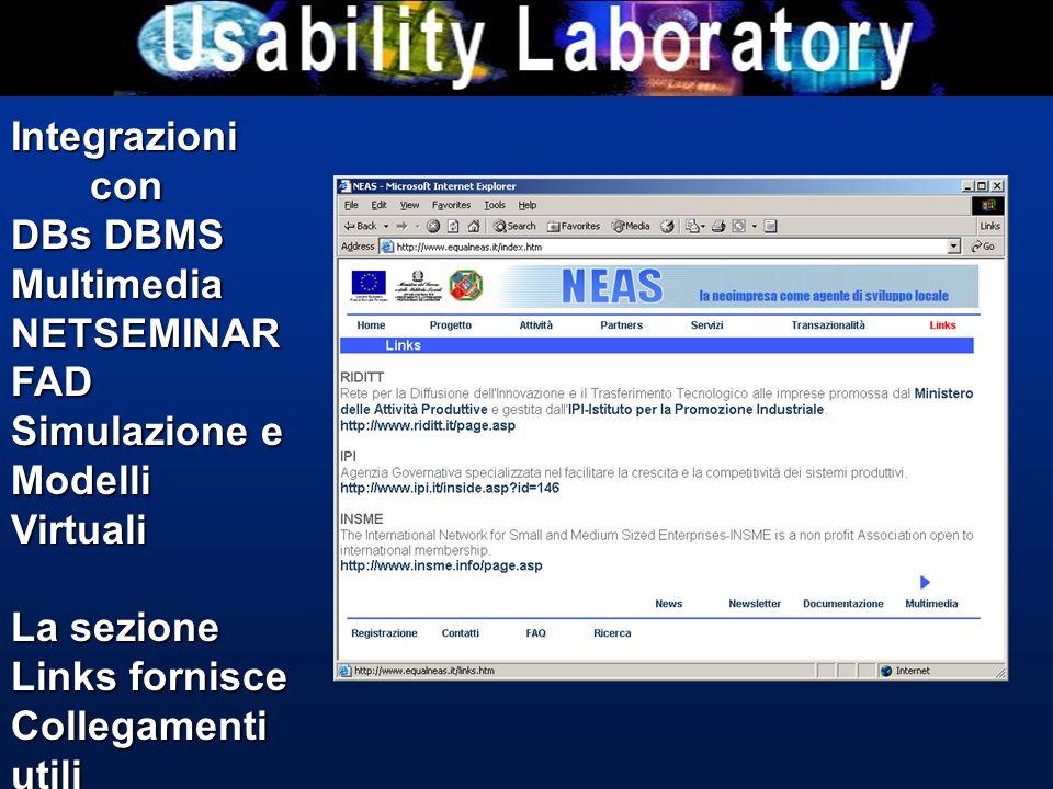 Integrazioni con con DBs DBMS MultimediaNETSEMINARFAD Simulazione e Modelli Virtuali La sezione Links fornisce Collegamenti utili