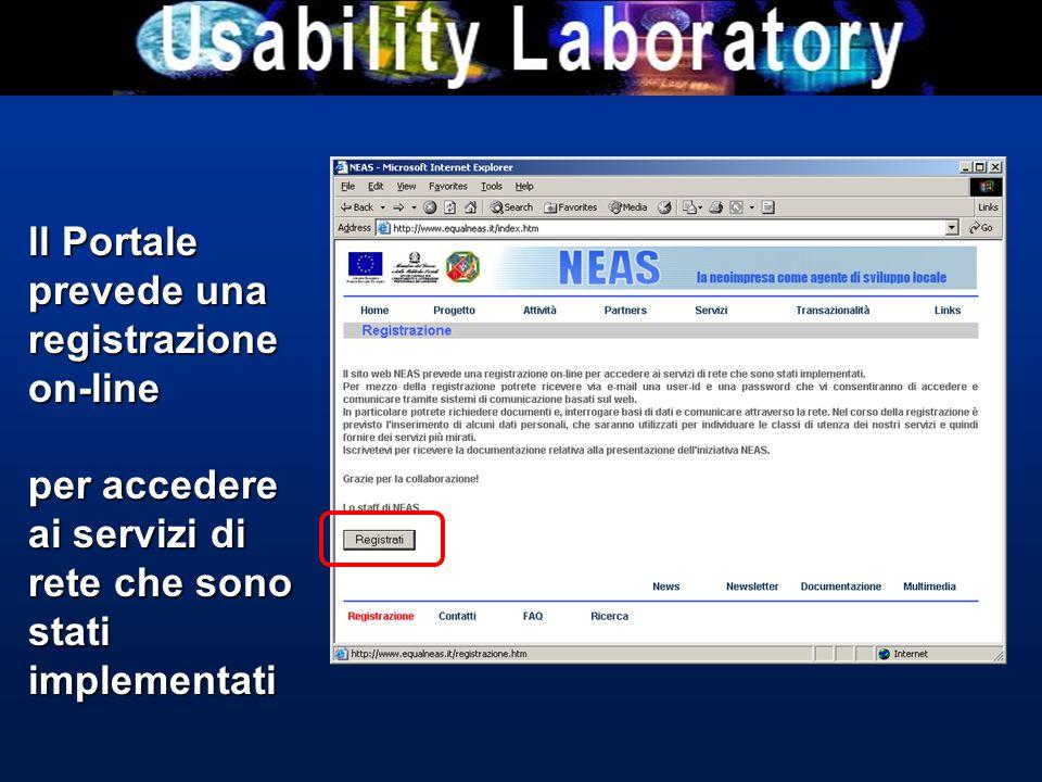 ll Portale prevede una registrazione on-line per accedere ai servizi di rete che sono stati implementati