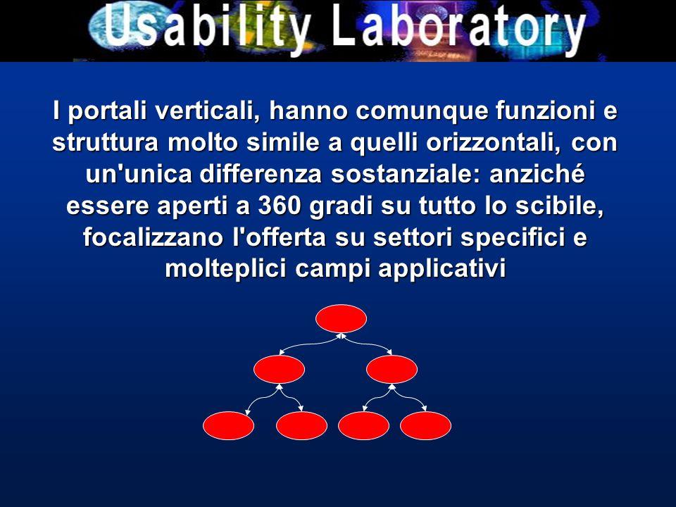 I portali verticali, hanno comunque funzioni e struttura molto simile a quelli orizzontali, con un unica differenza sostanziale: anziché essere aperti a 360 gradi su tutto lo scibile, focalizzano l offerta su settori specifici e molteplici campi applicativi