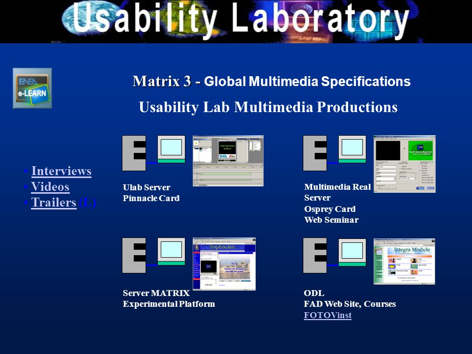 Usability Lab Multimedia Productions Interviews Videos Trailers (L)Trailers Ulab Server Pinnacle Card Multimedia Real Server Osprey Card Web Seminar S
