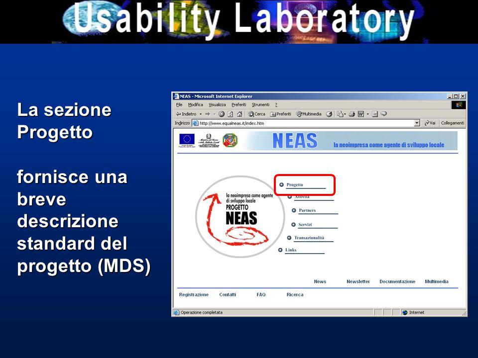 La sezione Progetto fornisce una breve descrizione standard del progetto (MDS)