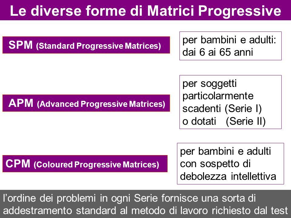 SPM (Standard Progressive Matrices) Le diverse forme di Matrici Progressive per bambini e adulti con sospetto di debolezza intellettiva per soggetti p