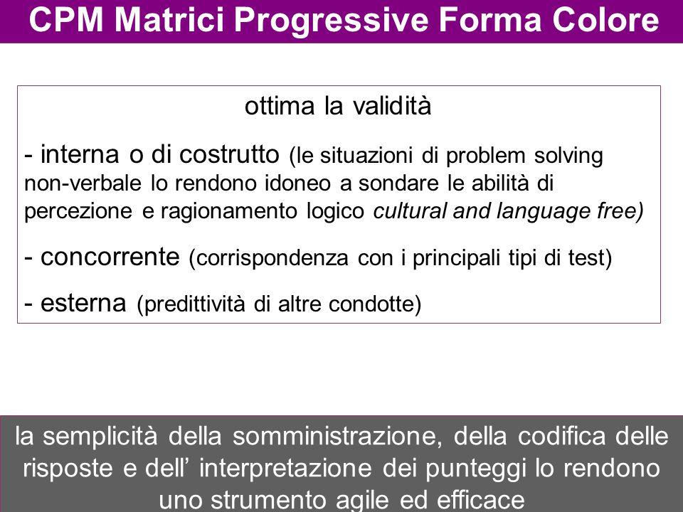 CPM Matrici Progressive Forma Colore ottima la validità - interna o di costrutto (le situazioni di problem solving non-verbale lo rendono idoneo a son