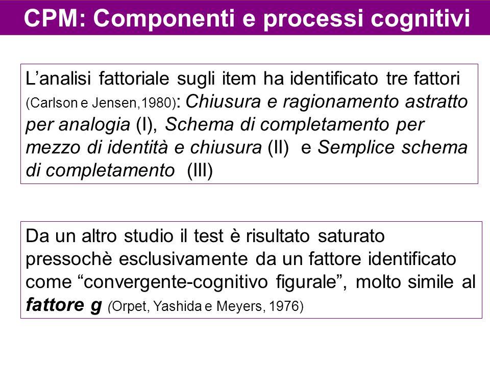 CPM: Componenti e processi cognitivi L'analisi fattoriale sugli item ha identificato tre fattori (Carlson e Jensen,1980) : Chiusura e ragionamento ast