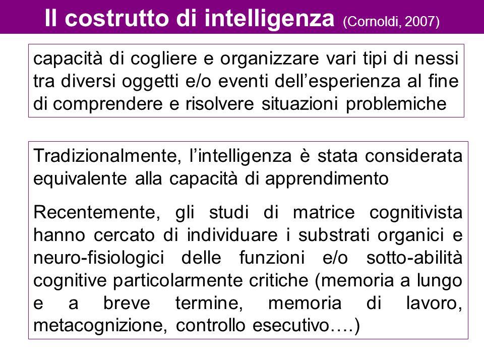Il costrutto di intelligenza (Cornoldi, 2007) capacità di cogliere e organizzare vari tipi di nessi tra diversi oggetti e/o eventi dell'esperienza al