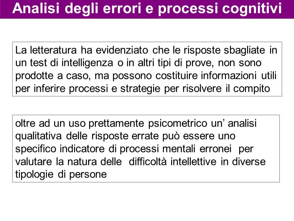 Analisi degli errori e processi cognitivi La letteratura ha evidenziato che le risposte sbagliate in un test di intelligenza o in altri tipi di prove,