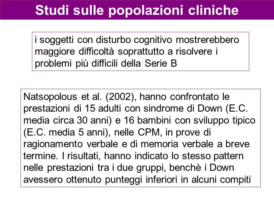 Studi sulle popolazioni cliniche Natsopolous et al. (2002), hanno confrontato le prestazioni di 15 adulti con sindrome di Down (E.C. media circa 30 an