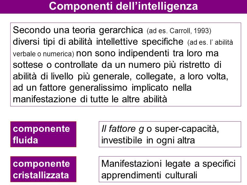 Componenti dell'intelligenza Secondo una teoria gerarchica (ad es. Carroll, 1993) diversi tipi di abilità intellettive specifiche (ad es. l' abilità v