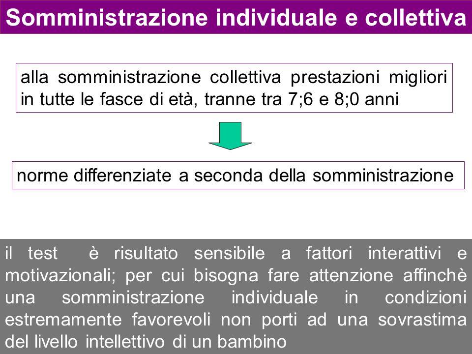 Somministrazione individuale e collettiva alla somministrazione collettiva prestazioni migliori in tutte le fasce di età, tranne tra 7;6 e 8;0 anni no