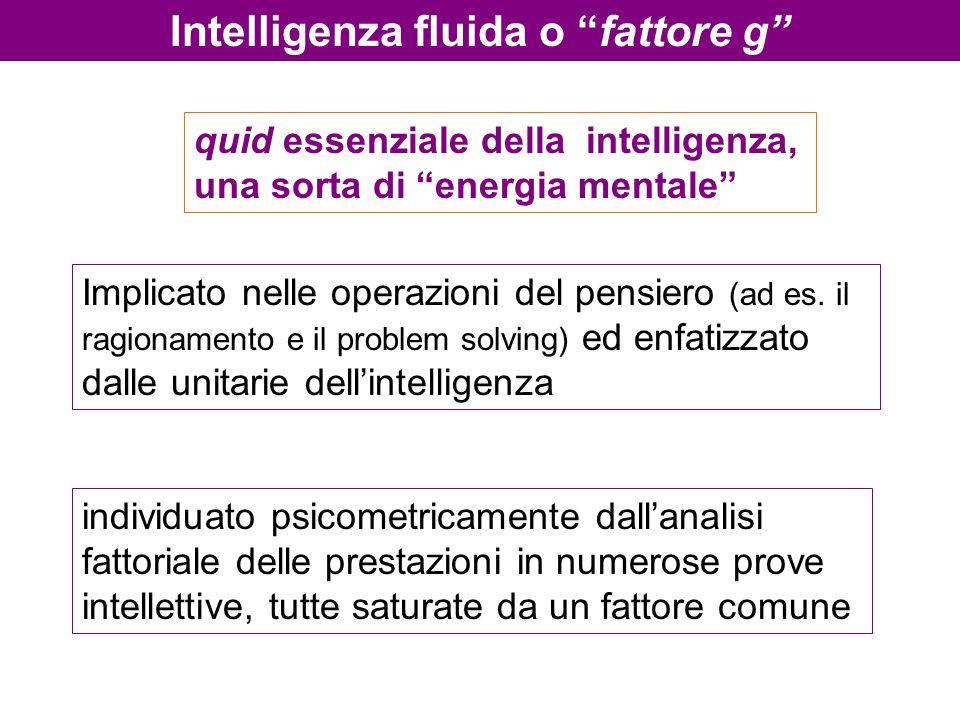"""Intelligenza fluida o """"fattore g"""" Implicato nelle operazioni del pensiero (ad es. il ragionamento e il problem solving) ed enfatizzato dalle unitarie"""