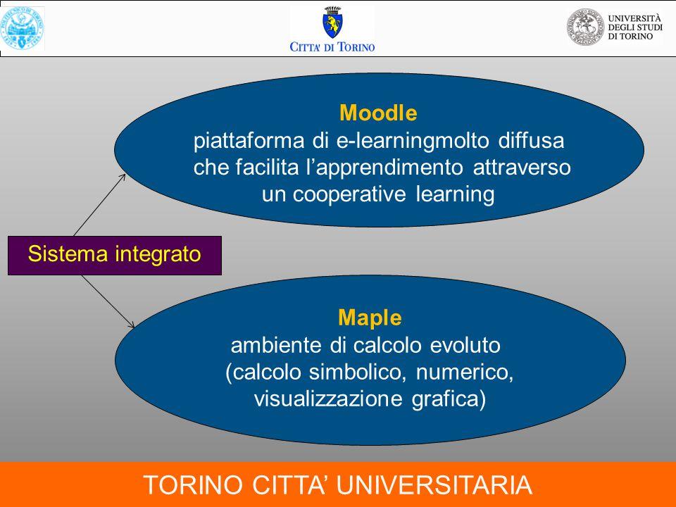 TORINO CITTA' UNIVERSITARIA Moodle piattaforma di e-learningmolto diffusa che facilita l'apprendimento attraverso un cooperative learning Maple ambien