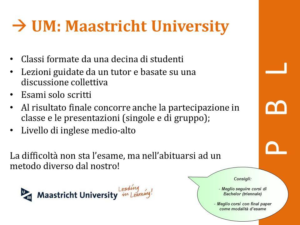  UM: Maastricht University Classi formate da una decina di studenti Lezioni guidate da un tutor e basate su una discussione collettiva Esami solo scr