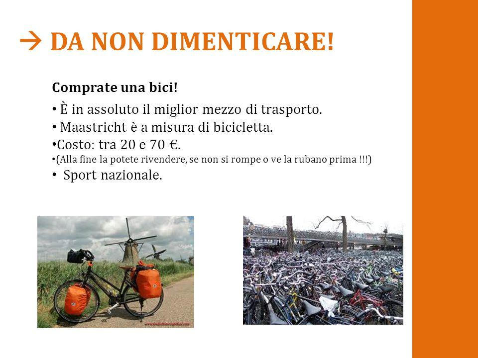  DA NON DIMENTICARE! Comprate una bici! È in assoluto il miglior mezzo di trasporto. Maastricht è a misura di bicicletta. Costo: tra 20 e 70 €. (Alla