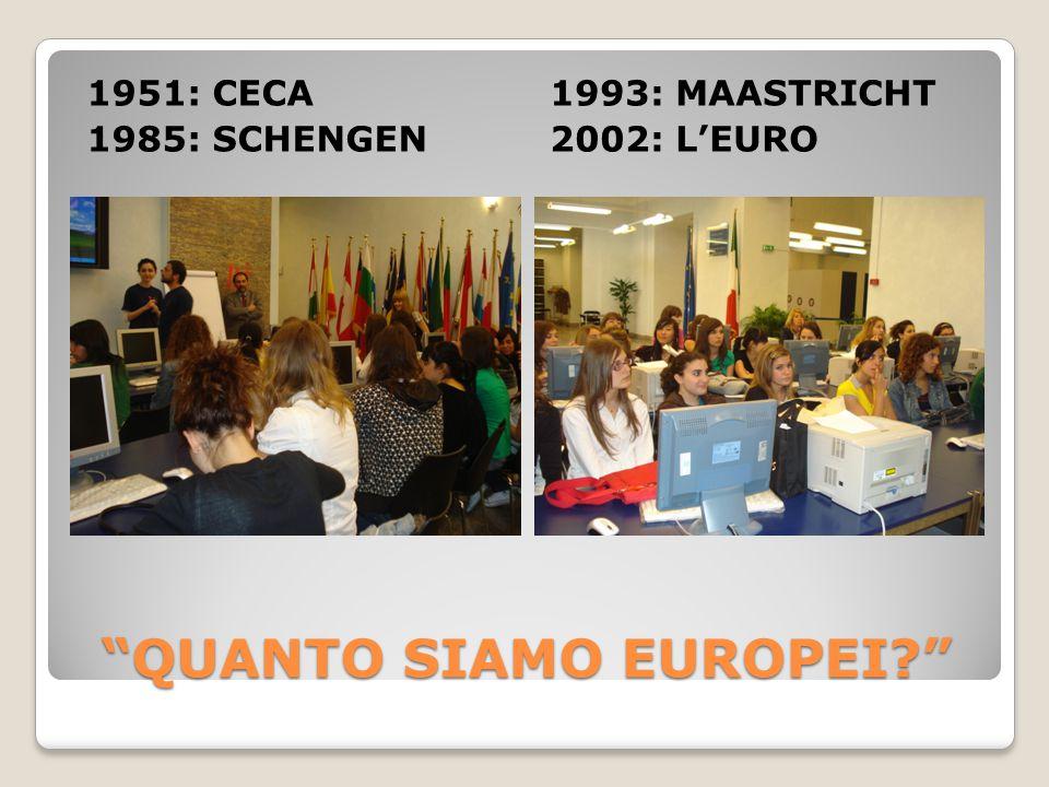 QUANTO SIAMO EUROPEI 1951: CECA 1985: SCHENGEN 1993: MAASTRICHT 2002: L'EURO