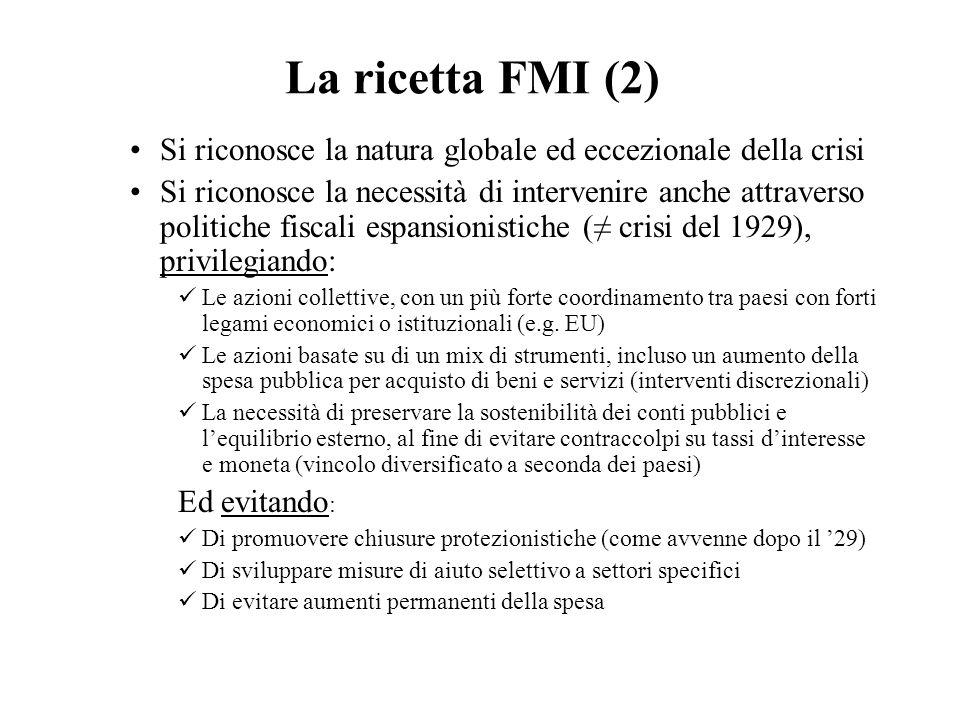 La ricetta FMI (2) Si riconosce la natura globale ed eccezionale della crisi Si riconosce la necessità di intervenire anche attraverso politiche fisca