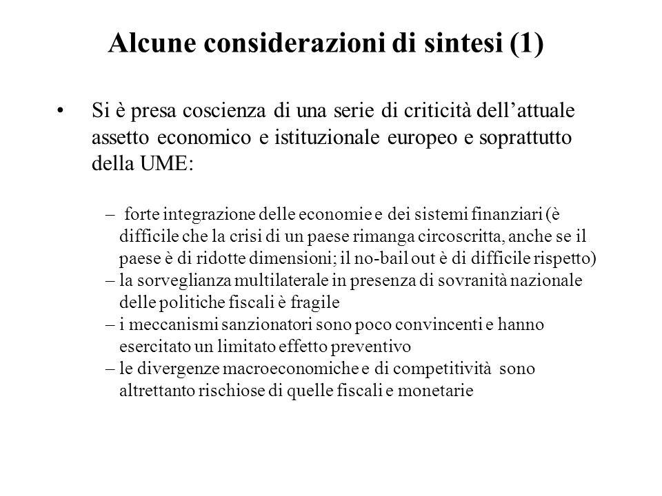 Alcune considerazioni di sintesi (1) Si è presa coscienza di una serie di criticità dell'attuale assetto economico e istituzionale europeo e soprattut