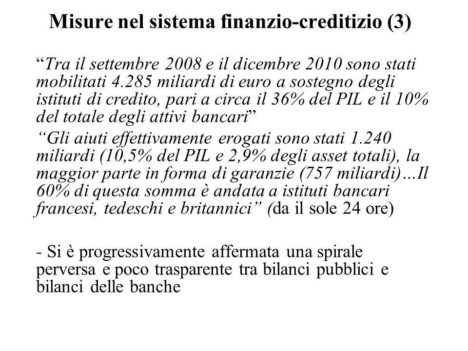 Misure nel sistema finanzio-creditizio (3) Tra il settembre 2008 e il dicembre 2010 sono stati mobilitati 4.285 miliardi di euro a sostegno degli istituti di credito, pari a circa il 36% del PIL e il 10% del totale degli attivi bancari Gli aiuti effettivamente erogati sono stati 1.240 miliardi (10,5% del PIL e 2,9% degli asset totali), la maggior parte in forma di garanzie (757 miliardi)…Il 60% di questa somma è andata a istituti bancari francesi, tedeschi e britannici (da il sole 24 ore) - Si è progressivamente affermata una spirale perversa e poco trasparente tra bilanci pubblici e bilanci delle banche