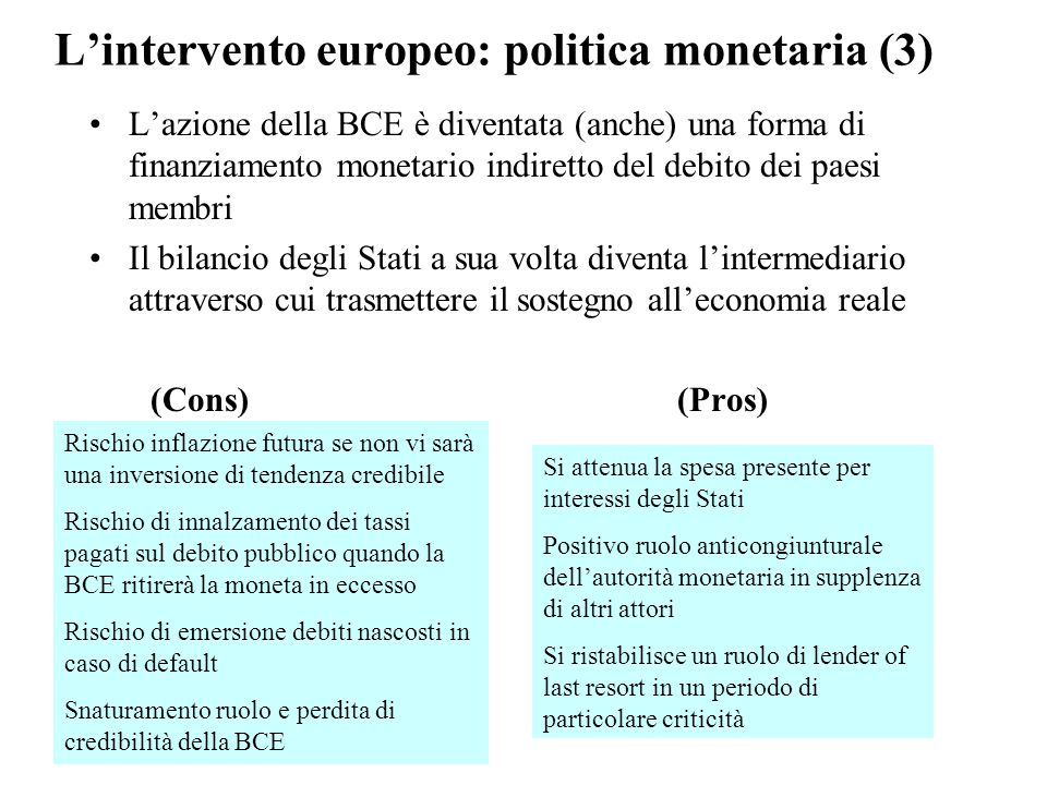 L'intervento europeo: politica monetaria (3) L'azione della BCE è diventata (anche) una forma di finanziamento monetario indiretto del debito dei paesi membri Il bilancio degli Stati a sua volta diventa l'intermediario attraverso cui trasmettere il sostegno all'economia reale (Cons) (Pros) Rischio inflazione futura se non vi sarà una inversione di tendenza credibile Rischio di innalzamento dei tassi pagati sul debito pubblico quando la BCE ritirerà la moneta in eccesso Rischio di emersione debiti nascosti in caso di default Snaturamento ruolo e perdita di credibilità della BCE Si attenua la spesa presente per interessi degli Stati Positivo ruolo anticongiunturale dell'autorità monetaria in supplenza di altri attori Si ristabilisce un ruolo di lender of last resort in un periodo di particolare criticità