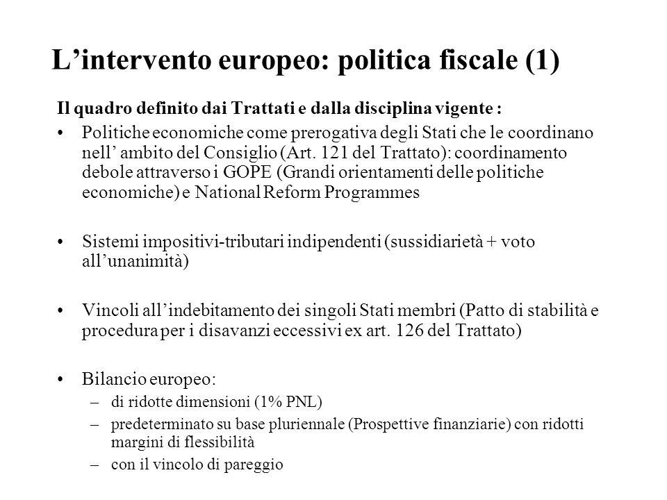 L'intervento europeo: politica fiscale (1) Il quadro definito dai Trattati e dalla disciplina vigente : Politiche economiche come prerogativa degli Stati che le coordinano nell' ambito del Consiglio (Art.