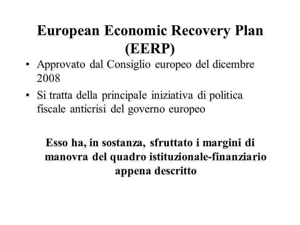 European Economic Recovery Plan (EERP) Approvato dal Consiglio europeo del dicembre 2008 Si tratta della principale iniziativa di politica fiscale anticrisi del governo europeo Esso ha, in sostanza, sfruttato i margini di manovra del quadro istituzionale-finanziario appena descritto