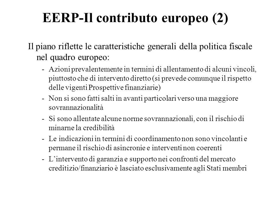 EERP-Il contributo europeo (2) Il piano riflette le caratteristiche generali della politica fiscale nel quadro europeo: -Azioni prevalentemente in termini di allentamento di alcuni vincoli, piuttosto che di intervento diretto (si prevede comunque il rispetto delle vigenti Prospettive finanziarie) -Non si sono fatti salti in avanti particolari verso una maggiore sovrannazionalità -Si sono allentate alcune norme sovrannazionali, con il rischio di minarne la credibilità -Le indicazioni in termini di coordinamento non sono vincolanti e permane il rischio di asincronie e interventi non coerenti -L'intervento di garanzia e supporto nei confronti del mercato creditizio/finanziario è lasciato esclusivamente agli Stati membri