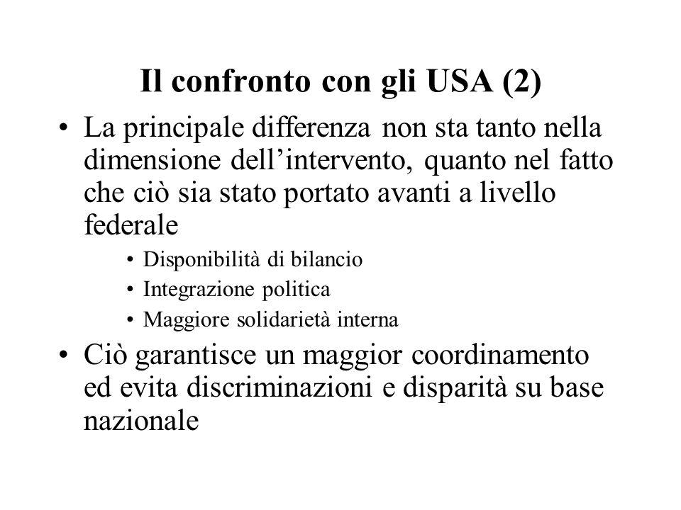 Il confronto con gli USA (2) La principale differenza non sta tanto nella dimensione dell'intervento, quanto nel fatto che ciò sia stato portato avant