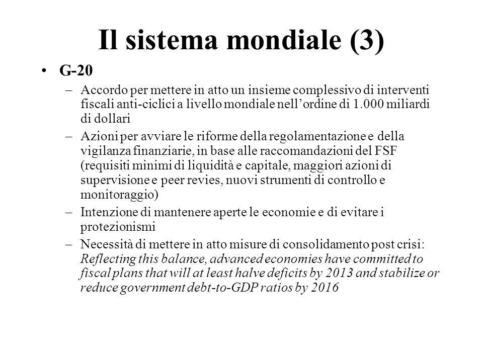 Il sistema mondiale (3) G-20 –Accordo per mettere in atto un insieme complessivo di interventi fiscali anti-ciclici a livello mondiale nell'ordine di