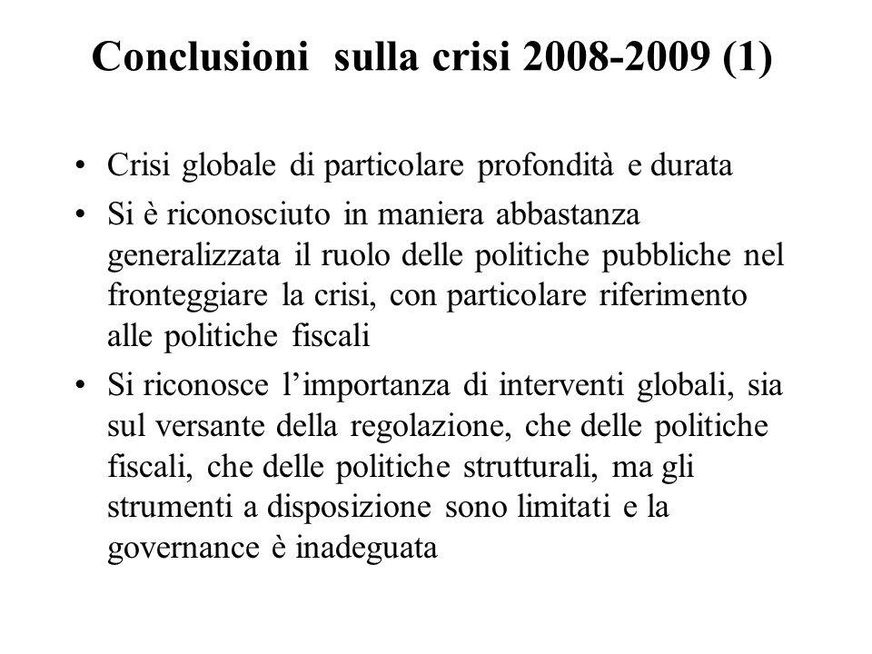 Conclusioni sulla crisi 2008-2009 (1) Crisi globale di particolare profondità e durata Si è riconosciuto in maniera abbastanza generalizzata il ruolo