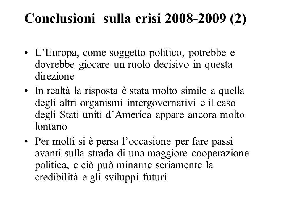 Conclusioni sulla crisi 2008-2009 (2) L'Europa, come soggetto politico, potrebbe e dovrebbe giocare un ruolo decisivo in questa direzione In realtà la