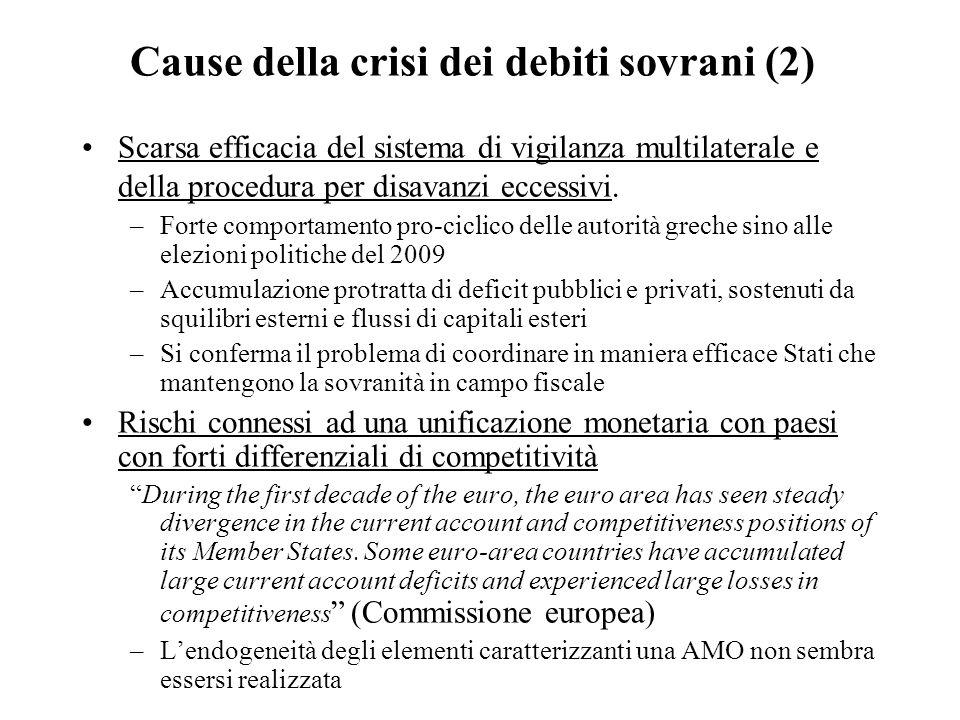 Cause della crisi dei debiti sovrani (2) Scarsa efficacia del sistema di vigilanza multilaterale e della procedura per disavanzi eccessivi. –Forte com