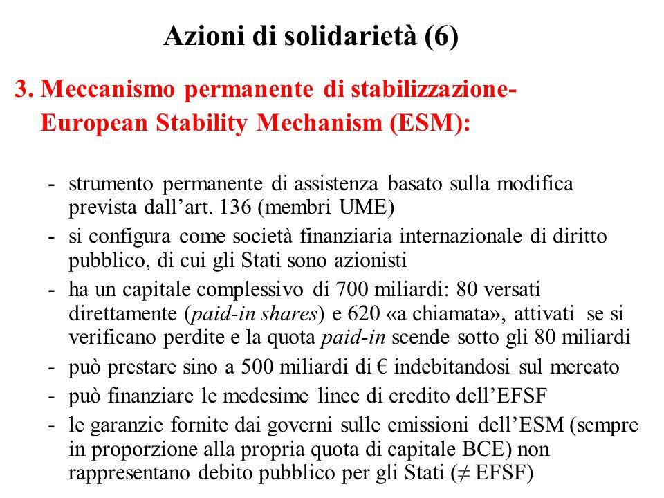 Azioni di solidarietà (6) 3. Meccanismo permanente di stabilizzazione- European Stability Mechanism (ESM): -strumento permanente di assistenza basato