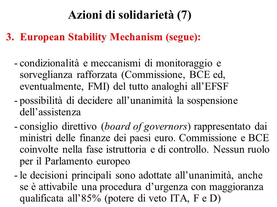 Azioni di solidarietà (7) 3.European Stability Mechanism (segue): -condizionalità e meccanismi di monitoraggio e sorveglianza rafforzata (Commissione, BCE ed, eventualmente, FMI) del tutto analoghi all'EFSF -possibilità di decidere all'unanimità la sospensione dell'assistenza -consiglio direttivo (board of governors) rappresentato dai ministri delle finanze dei paesi euro.