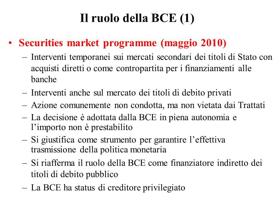 Il ruolo della BCE (1) Securities market programme (maggio 2010) –Interventi temporanei sui mercati secondari dei titoli di Stato con acquisti diretti o come contropartita per i finanziamenti alle banche –Interventi anche sul mercato dei titoli di debito privati –Azione comunemente non condotta, ma non vietata dai Trattati –La decisione è adottata dalla BCE in piena autonomia e l'importo non è prestabilito –Si giustifica come strumento per garantire l'effettiva trasmissione della politica monetaria –Si riafferma il ruolo della BCE come finanziatore indiretto dei titoli di debito pubblico –La BCE ha status di creditore privilegiato