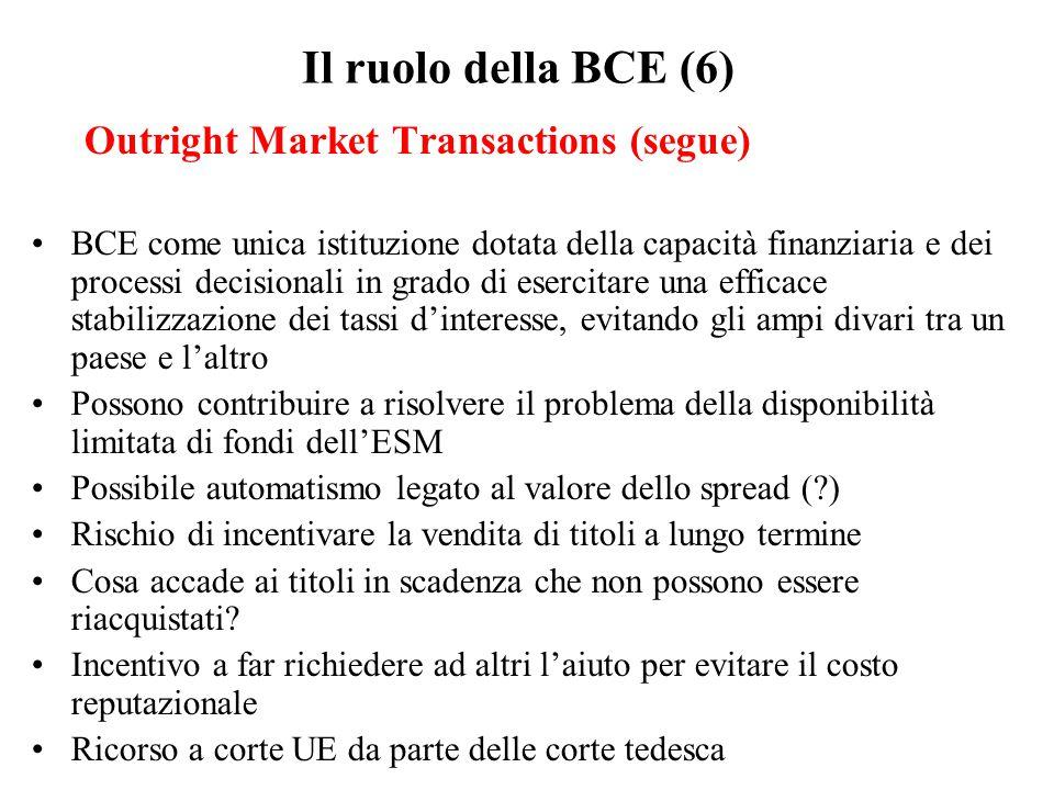 Il ruolo della BCE (6) Outright Market Transactions (segue) BCE come unica istituzione dotata della capacità finanziaria e dei processi decisionali in grado di esercitare una efficace stabilizzazione dei tassi d'interesse, evitando gli ampi divari tra un paese e l'altro Possono contribuire a risolvere il problema della disponibilità limitata di fondi dell'ESM Possibile automatismo legato al valore dello spread (?) Rischio di incentivare la vendita di titoli a lungo termine Cosa accade ai titoli in scadenza che non possono essere riacquistati.
