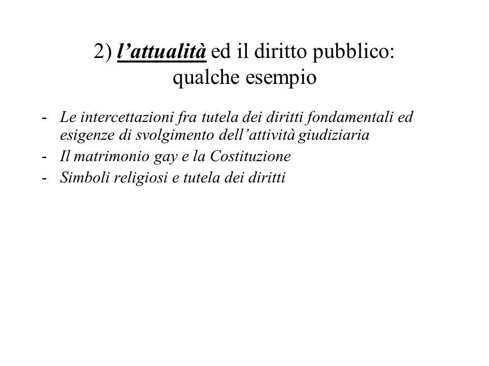 2) l'attualità ed il diritto pubblico: qualche esempio -Le intercettazioni fra tutela dei diritti fondamentali ed esigenze di svolgimento dell'attività giudiziaria -Il matrimonio gay e la Costituzione -Simboli religiosi e tutela dei diritti