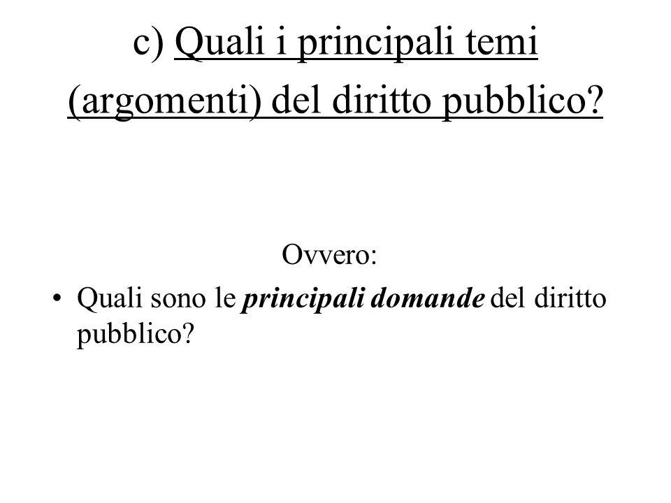c) Quali i principali temi (argomenti) del diritto pubblico.