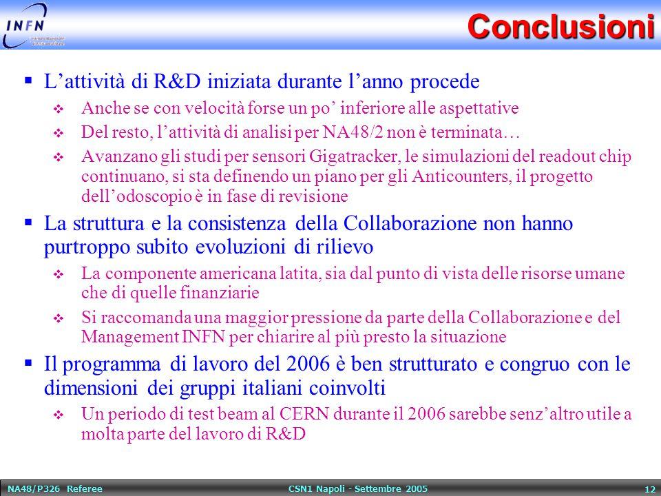 NA48/P326 Referee CSN1 Napoli - Settembre 2005 12Conclusioni  L'attività di R&D iniziata durante l'anno procede  Anche se con velocità forse un po' inferiore alle aspettative  Del resto, l'attività di analisi per NA48/2 non è terminata…  Avanzano gli studi per sensori Gigatracker, le simulazioni del readout chip continuano, si sta definendo un piano per gli Anticounters, il progetto dell'odoscopio è in fase di revisione  La struttura e la consistenza della Collaborazione non hanno purtroppo subito evoluzioni di rilievo  La componente americana latita, sia dal punto di vista delle risorse umane che di quelle finanziarie  Si raccomanda una maggior pressione da parte della Collaborazione e del Management INFN per chiarire al più presto la situazione  Il programma di lavoro del 2006 è ben strutturato e congruo con le dimensioni dei gruppi italiani coinvolti  Un periodo di test beam al CERN durante il 2006 sarebbe senz'altro utile a molta parte del lavoro di R&D