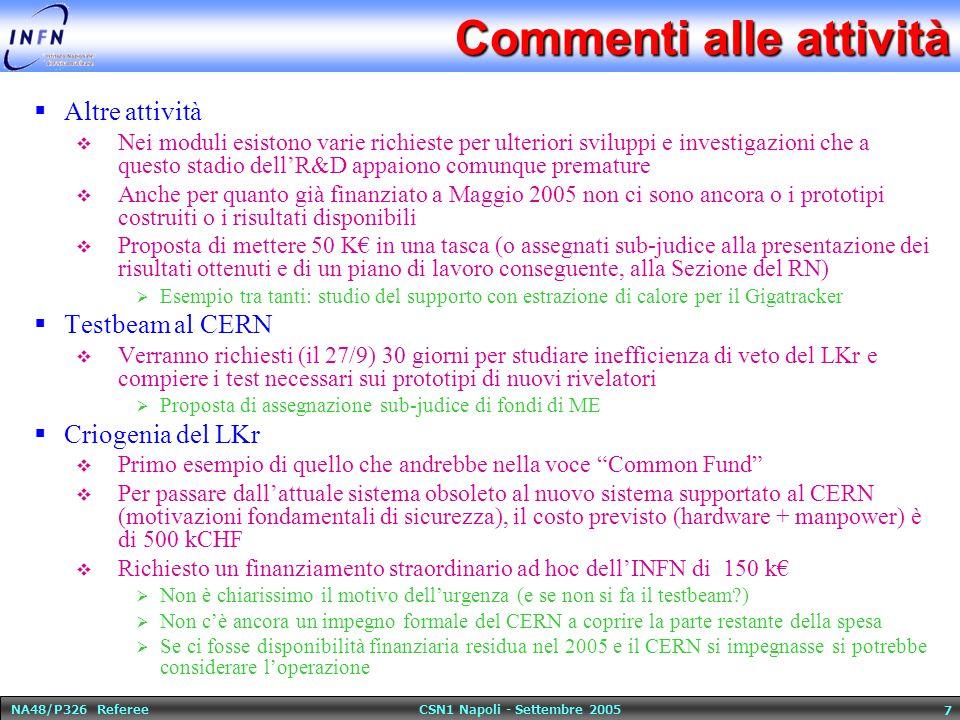 NA48/P326 Referee CSN1 Napoli - Settembre 2005 7 Commenti alle attività  Altre attività  Nei moduli esistono varie richieste per ulteriori sviluppi e investigazioni che a questo stadio dell'R&D appaiono comunque premature  Anche per quanto già finanziato a Maggio 2005 non ci sono ancora o i prototipi costruiti o i risultati disponibili  Proposta di mettere 50 K€ in una tasca (o assegnati sub-judice alla presentazione dei risultati ottenuti e di un piano di lavoro conseguente, alla Sezione del RN)  Esempio tra tanti: studio del supporto con estrazione di calore per il Gigatracker  Testbeam al CERN  Verranno richiesti (il 27/9) 30 giorni per studiare inefficienza di veto del LKr e compiere i test necessari sui prototipi di nuovi rivelatori  Proposta di assegnazione sub-judice di fondi di ME  Criogenia del LKr  Primo esempio di quello che andrebbe nella voce Common Fund  Per passare dall'attuale sistema obsoleto al nuovo sistema supportato al CERN (motivazioni fondamentali di sicurezza), il costo previsto (hardware + manpower) è di 500 kCHF  Richiesto un finanziamento straordinario ad hoc dell'INFN di 150 k€  Non è chiarissimo il motivo dell'urgenza (e se non si fa il testbeam )  Non c'è ancora un impegno formale del CERN a coprire la parte restante della spesa  Se ci fosse disponibilità finanziaria residua nel 2005 e il CERN si impegnasse si potrebbe considerare l'operazione