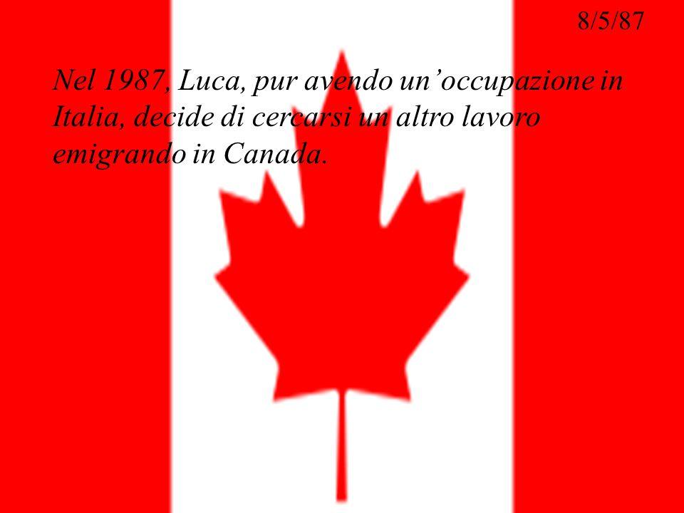Nel 1987, Luca, pur avendo un'occupazione in Italia, decide di cercarsi un altro lavoro emigrando in Canada.