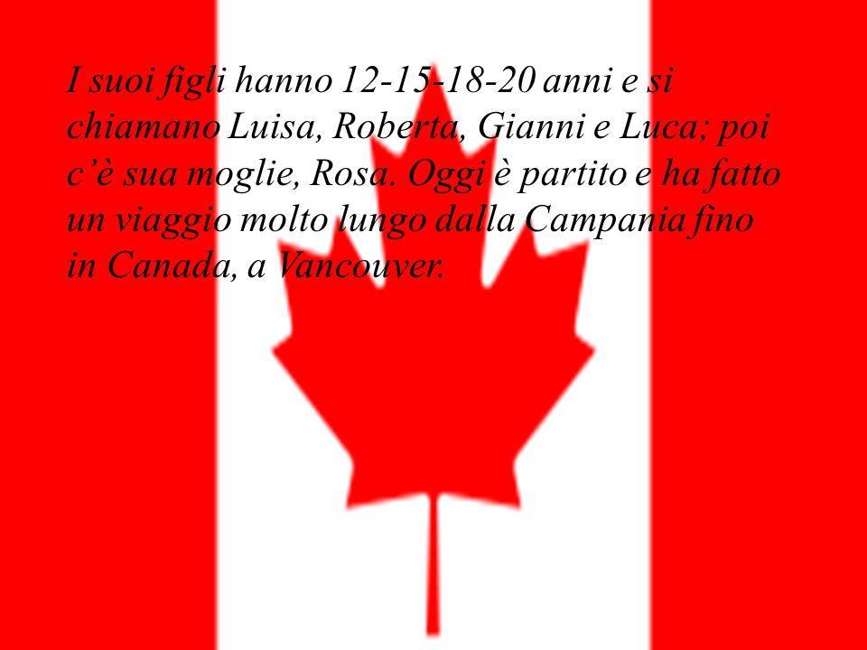 I suoi figli hanno 12-15-18-20 anni e si chiamano Luisa, Roberta, Gianni e Luca; poi c'è sua moglie, Rosa.