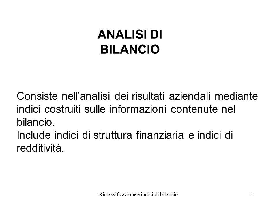 Riclassificazione e indici di bilancio1 ANALISI DI BILANCIO Consiste nell'analisi dei risultati aziendali mediante indici costruiti sulle informazioni contenute nel bilancio.