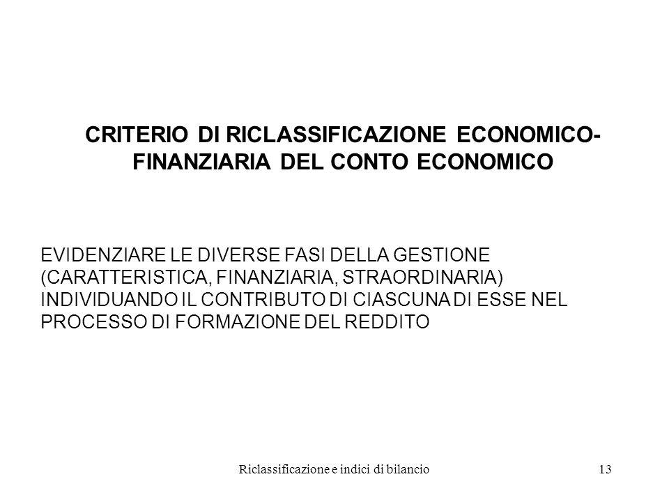 Riclassificazione e indici di bilancio13 CRITERIO DI RICLASSIFICAZIONE ECONOMICO- FINANZIARIA DEL CONTO ECONOMICO EVIDENZIARE LE DIVERSE FASI DELLA GESTIONE (CARATTERISTICA, FINANZIARIA, STRAORDINARIA) INDIVIDUANDO IL CONTRIBUTO DI CIASCUNA DI ESSE NEL PROCESSO DI FORMAZIONE DEL REDDITO