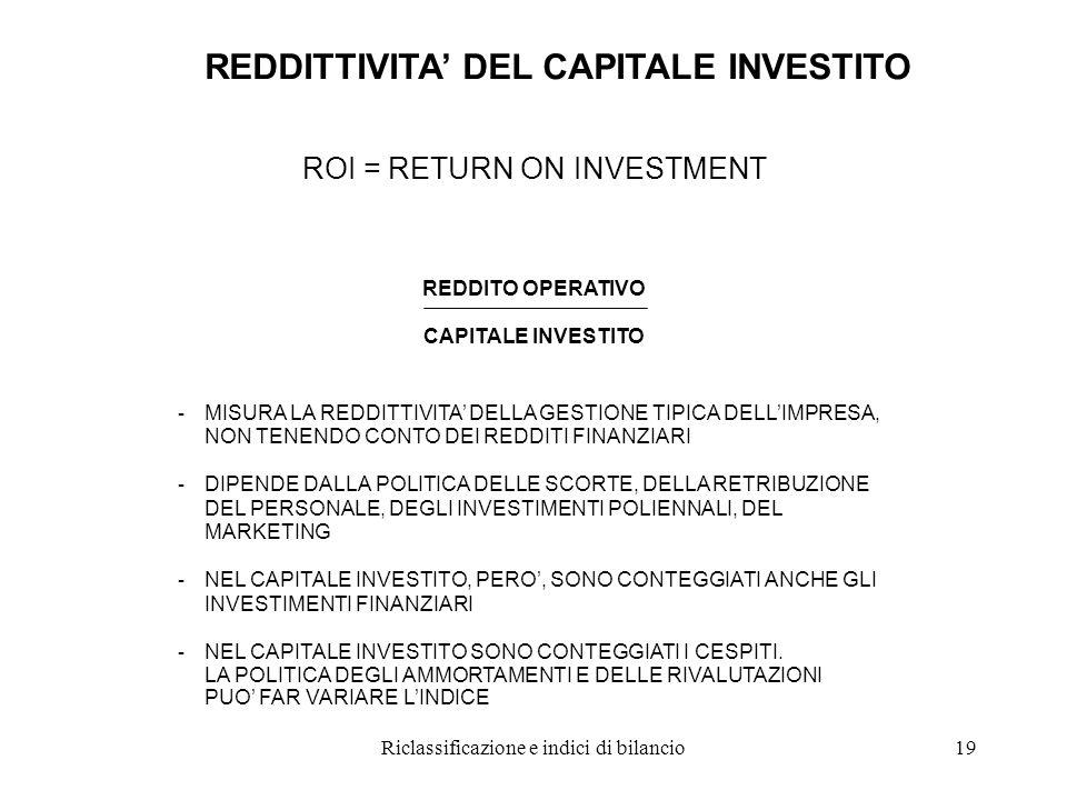 Riclassificazione e indici di bilancio19 REDDITTIVITA' DEL CAPITALE INVESTITO ROI = RETURN ON INVESTMENT REDDITO OPERATIVO CAPITALE INVESTITO - MISURA LA REDDITTIVITA' DELLA GESTIONE TIPICA DELL'IMPRESA, NON TENENDO CONTO DEI REDDITI FINANZIARI - DIPENDE DALLA POLITICA DELLE SCORTE, DELLA RETRIBUZIONE DEL PERSONALE, DEGLI INVESTIMENTI POLIENNALI, DEL MARKETING - NEL CAPITALE INVESTITO, PERO', SONO CONTEGGIATI ANCHE GLI INVESTIMENTI FINANZIARI - NEL CAPITALE INVESTITO SONO CONTEGGIATI I CESPITI.
