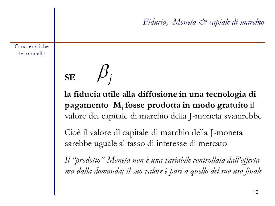 10 SE la fiducia utile alla diffusione in una tecnologia di pagamento M j fosse prodotta in modo gratuito il valore del capitale di marchio della J-mo