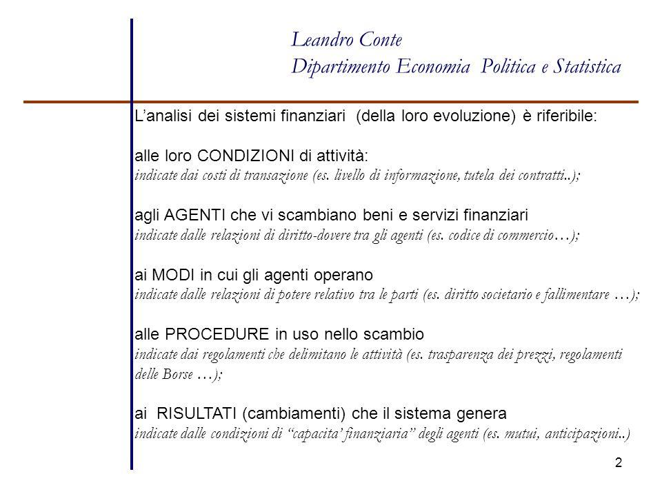2 Leandro Conte Dipartimento Economia Politica e Statistica L'analisi dei sistemi finanziari (della loro evoluzione) è riferibile: alle loro CONDIZION