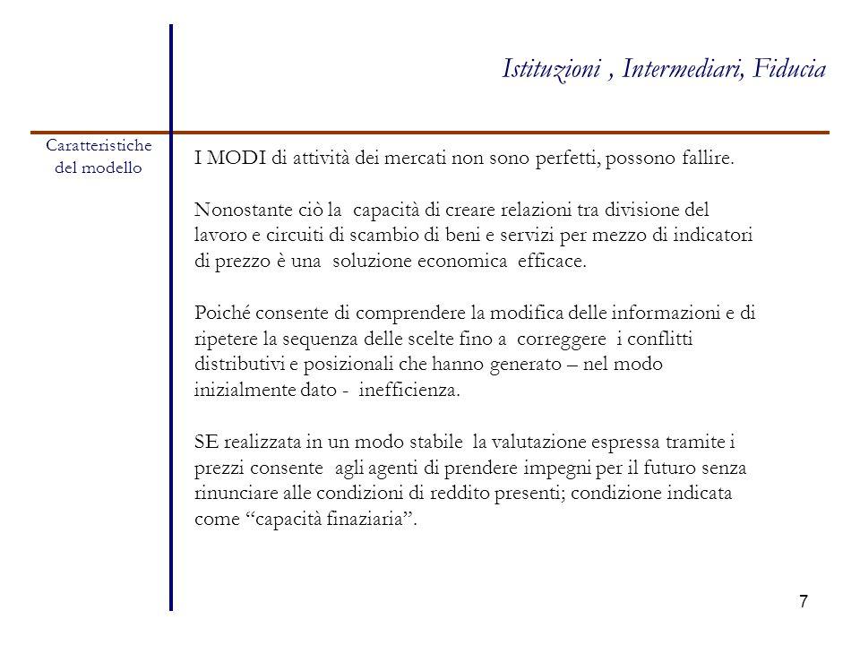 7 Caratteristiche del modello Istituzioni, Intermediari, Fiducia I MODI di attività dei mercati non sono perfetti, possono fallire. Nonostante ciò la
