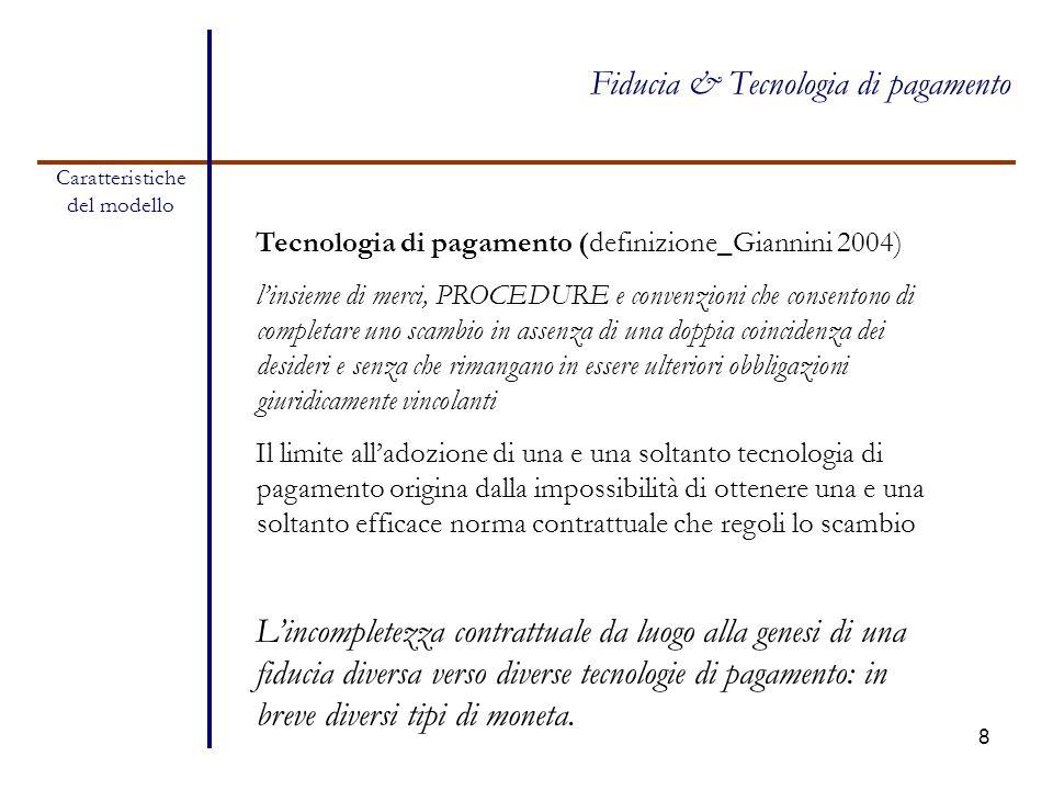 8 Caratteristiche del modello Fiducia & Tecnologia di pagamento Tecnologia di pagamento (definizione_Giannini 2004) l'insieme di merci, PROCEDURE e co