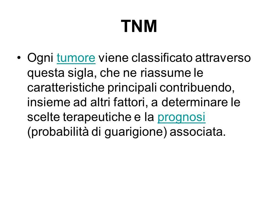 TNM Ogni tumore viene classificato attraverso questa sigla, che ne riassume le caratteristiche principali contribuendo, insieme ad altri fattori, a de